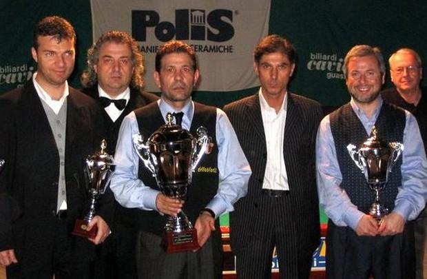Gustavo Zito(terzo classificato), il direttore di gara Orfeo Sarto, Crocefisso Maggio(primo classificato), l'organizzatore Moreno Scarpellini, Gigi Auletta(terzo classificato)